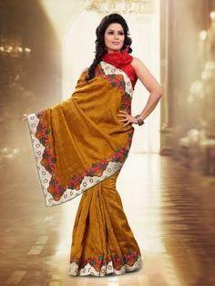 Mustard Bhagalpuri Jacquard Silk Saree With Stone Work