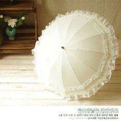 Bonito branco creme romatic parasol do laço à prova d' água para a menina/mulheres esticada ensolarado e chuvoso umbrella nupcial frete grátis em Capa de Chuva de Home & Garden no AliExpress.com   Alibaba Group