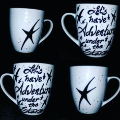 Let's Have Adventures Under The Stars, hand Painted, Kiln Fired, Adventure, Camping, Nature, Astronomy, Stars, Custom Coffee Mug Gift by LunaZingara on Etsy