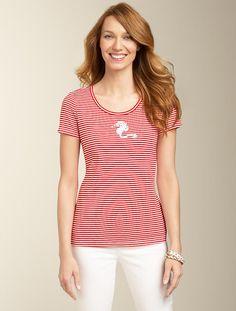 Talbots - Seahorse Stripes Pima Cotton Tee | Travel Essentials | Misses