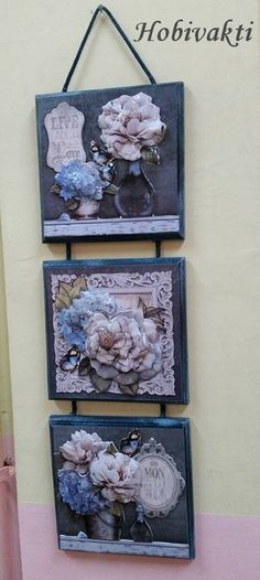 Wood Crafts, Diy And Crafts, Easy Crafts, Mirrored Picture Frames, Papercrete, Arte Country, Wall Shelves Design, Decoupage Vintage, Rustic Art