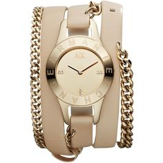 Armani Exchange Chain Strap Natural Leather Cuff Watch ($180) ❤ liked on Polyvore