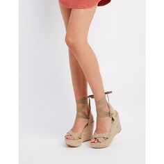 Wild Diva Lounge Ankle-Tie Espadrille Wedge Sandals (2,400 INR) ❤ liked on Polyvore featuring shoes, sandals, natural, bow tie sandals, slingback sandals, espadrille sandals, wedge espadrilles and slingback wedge sandals