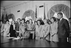 Photograph of Jimmy Carter signing extension of Equal Rights Amendment (ERA) Ratification, 10/20/1978. National Archives, ARC 181981.
