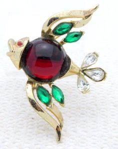 VTG-Rare-1953-CROWN-TRIFARI-PAT-PEND-Rhinestone-Jelly-Belly-Fish-Pin-Brooch