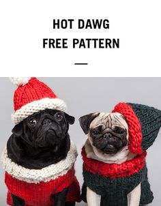 Pug Balaclava Knitting Pattern : Hot Dawg Sweater for Pugs and other dogs Knitaroo ...