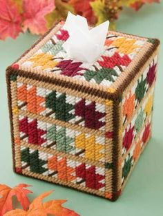 AUTUMN LEAVES Colorful Boutique Size Tissue Box by NiftyStitches4U