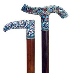 TWO RUSSIAN CLOISONNE ENAMEL CANES | MOSCOW, CIRCA 1899-1908 |