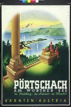 Pörtschach, Kärnten, Vintage Austria Travel Poster Retro Poster, Vintage Travel Posters, Vintage Ads, Vintage Images, Retro Illustration, Illustrations, Europe, Harry Potter Poster, Free Images