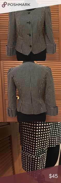 Taikonku polka dot blazer jacket 4 In excellent condition! From anthropologie. Taikonku polkadot blazer jacket. Kubo detail on the sleeves. Jacket is lined. Shell is 54% cotton 44% polyester.  Lining is 100% acetate. Anthropologie Jackets & Coats Blazers