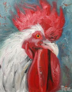 Rooster110 8x10inch Print of an oil painting by Roz.