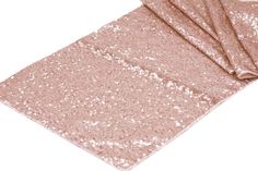 """Rose Gold Sequin table runner. Beautiful for all! Fantastic for any wedding, event, or home decor. These beautiful sequin table runners shimmer with delight! Table runner is 12.2"""" wide by 108"""" long. F                                                                                                                                                      More"""
