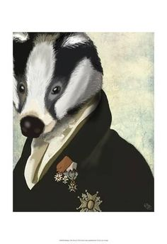 Art Print: Badger The Hero by Fab Funky : 19x13in Badger Pictures, Steampunk, Hero Poster, Honey Badger, Thing 1, Hero Arts, Hanging Wall Art, Pet Portraits, Digital Illustration