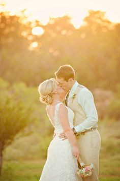 Sarah + Sam's Romantic Countryside Wedding | Two Birds One Stone Wedding {Abilene, TX Wedding Photographer} | bride, groom, couples, wedding photos, wedding pictures, outdoor, outdoor wedding, rustic, sunset wedding pictures