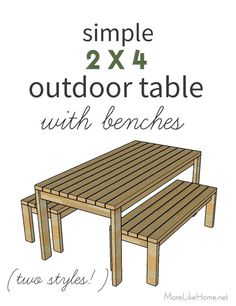 Free plans for a simple outdoor table with benches! It's perfect for bac… Free plans for a simple outdoor table with benches! It's perfect for backyard dining this summer! Woodworking Projects That Sell, Learn Woodworking, Popular Woodworking, Woodworking Furniture, Diy Wood Projects, Woodworking Plans, Wood Crafts, Unique Woodworking, Woodworking Store