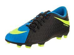 337bd13828e NIKE Mens Hypervenom Phade III FG Black Volt Photo Blue Soccer Cleat 10.5  Men