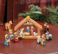 """""""Mini Christmas Nativity Set, Stable with Jesus, Mary, Joseph, Wisemen"""" by OrangeTag - from Amazon;  9 pieces;  2"""" high figures"""