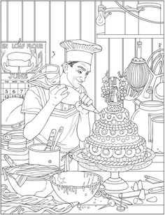 Creative Haven the Saturday Evening Post Americana Coloring Book wedding cake bakery coloring page