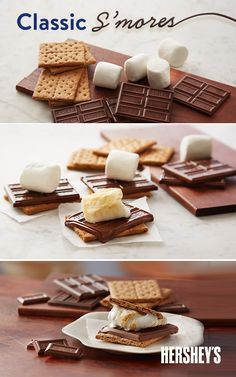 Whip up all-year-round HERSHEY'S Classic S'mores with this delicious recipe that's ready for campfire and oven alike. Grab two graham crackers and place a half of HERSHEY'S Milk Chocolate Bars on each. Top each off with a marshmallow and broil in the oven until marshmallows turn golden brown. Flip the two graham crackers on top of each other, press gently and voila - you've got a delicious S'more to snack on.