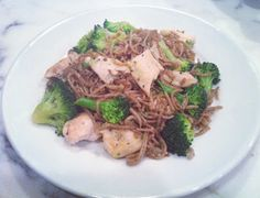 Grilled garlic chicken with buckwheat soba noodles, broccoli and a couple tablespoons of Annie Chungs stir fry sauce.