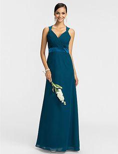 Bridesmaid Dress Floor Length Chiffon Sheath Column V Neck Dress (605511) - GBP £ 62.09