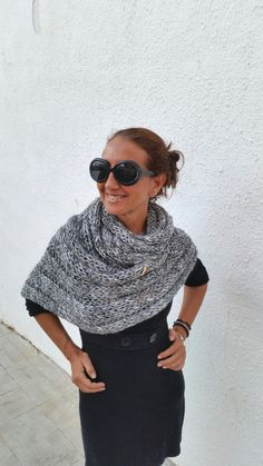 Chunky knit scarf oversized grey cowl knitted chunky stolewool knit gifts unisex knitwear winter trend extra large scarf gray scarf (55.00 EUR) by EstherTg