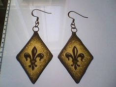 Heraldic Lily or Fleur de lis painted stained glass earrings