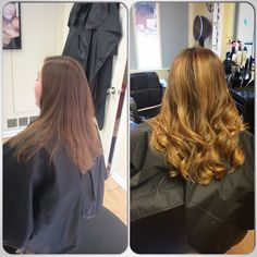 Before and after! Balayage, warm blonde. NC Hair Studio by Nichole