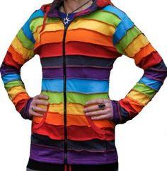 Shopoholic Fashion Fleece lined Rainbow pixie hood warm jacket ...