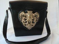 1940s Nettie Rosenstein Black Leather Heraldic Shield Handbag