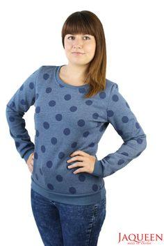 Sweatshirts - Pullover Punkte blau - ein Designerstück von JAQUEEN-handmade-streetwear-berlin bei DaWanda