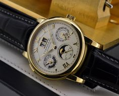 JUST IN: A. Lange and Sohne Langematik Perpetual Calendar in 18K Yellow Gold. One of the most beautifully designed perpetual calendars.