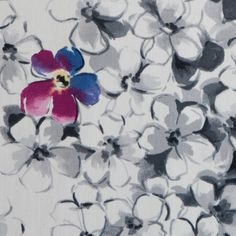 Italian Black/White/Multi-Color Floral Stretch Cotton Sateen Fabric by the Yard | Mood Fabrics