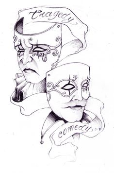 drama faces tattoo girly - Google Search