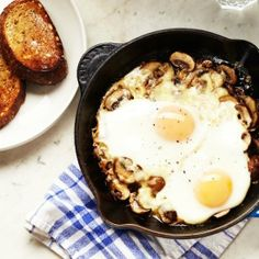 Perfect for any meal: Baked Eggs with Mushrooms and Cheese. So cozy on a winter day!