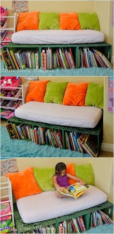 crates Turn Them to a Bookshelf Bench for Kids' Reading Nook