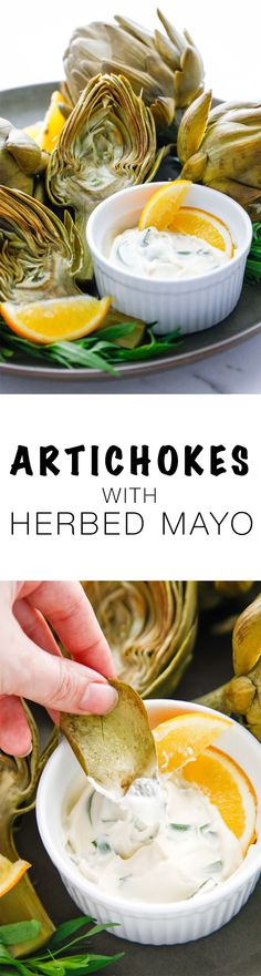 Easy steamed Artichoke with Herbed Mayonnaise. Bring this spring vegetable into your life! It's a delicious veggie worth eating! via @thebrooklyncook