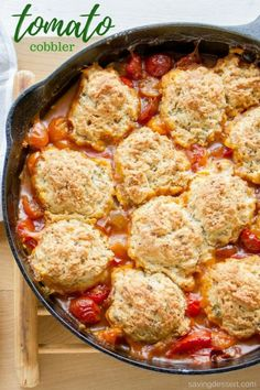 Savory Tomato Cobbler - it's hard to come up with enough superlatives to describe this wonderful, delicious, slightly sweet, savory, rich and absolutely delightful Tomato Cobbler direct from our garden to the table! Tofu, Tomato Dishes, Veggie Dishes, Veggie Meals, Tomato Gravy, Tomato Pie, Fresh Tomato Recipes, Vegetarian Recipes, Cooking Recipes