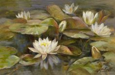 Water lilies Flower painting Original flower by RealArtVision