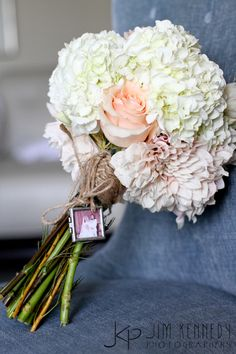 Beautiful light colored bouquet with yarn by Heavy Petal Flowers | Pink rose, white hydrangea and charm | Jim Kennedy Photographers