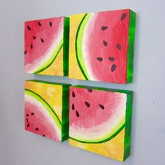 Artwork Created by Sofia Zises - Multicanvas Watermelon - Boxed Canvas Sofia created the original drawing using acrylic paints on canvas (the color and clarity may differ on your computer screen, and it looks better in person). Multi Canvas Painting, Kids Canvas Art, Canvas Ideas, Fruit Painting, Painting For Kids, Art For Kids, Watermelon Painting, Bow Art, Fruit Art