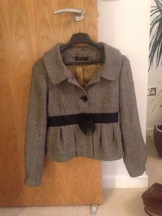TOPSHOP WOOL blend Coat Jacket Fitted Button up -UK Size 10 vintage tweed look   £10.00 (BIN)