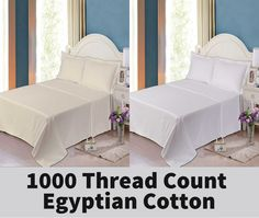1000 Thread Count Egyptian Cotton Satin Stripe Flat Bed Sheets