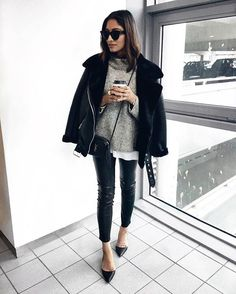 Sunglasses indoors with shearling jackets and knits. Makes sense.