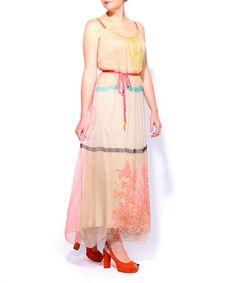 BL^NK: Multi-Print Chiffon Maxi Dress in Camel