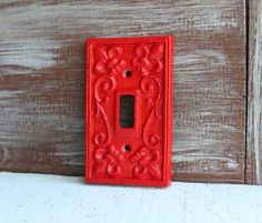 Light Switch Cover Plate APPLE RED Light Switch by LoweryDesigns