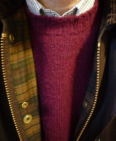 """heavytweedjacket: """" Shetland Monday. A Harley of Scotland sweater in the color """"Claret."""" Worn with a Brooks Brothers blue and black tattersall, Polo dark green cords, a Barbour Beaufort, and L.L. Bean..."""