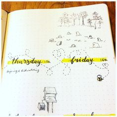 Bullet journal weekly layout, bees flying drawing, outdoor drawing. | @blue_bullets_
