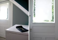 Privacy window DIY - use frosted glass spray paint to add privacy but preserve light (the paint can be removed with acetone)