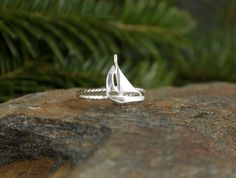 This Sailboat Stacking Ring is one of my most popular nautical jewelry pieces. Perfect for your nautical wedding, this ring features a